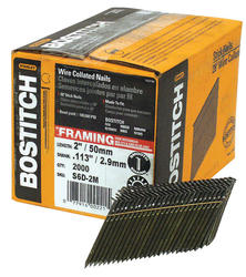 "Bostitch® 2"" x .113 28° Brite Finish Smooth Shank Wire Collated Full-Round Head Framing Nails - 2,000 ct."