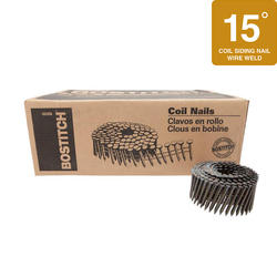 "Bostitch® 2-3/16"" x .131 15° Wire Coil Smooth Shank Hardened Steel Siding Nails - 4,500 ct."