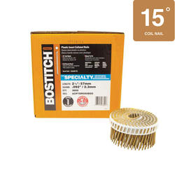 "Bostitch® 2-1/4"" x .090 15° Plastic Coil HDG Ring Shank Siding Nails - 3,600 ct."