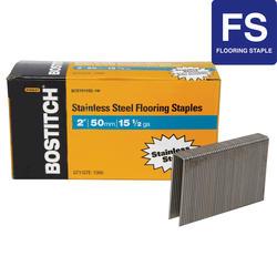 "Bostitch® 1/2"" Crown x 1/2"" Leg 15.5-Gauge Stainless Steel Flooring Staple -1,000 ct."
