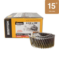 """Bostitch® 2-1/4"""" x .148 15° Wire Coil Smooth Shank Brite Finish Framing Nails - 2,700 ct."""
