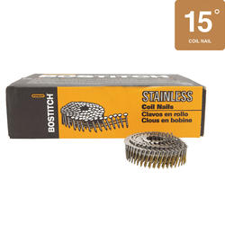 "Bostitch® 1-1/4"" x .090 15° Wire Coil Ring Shank Stainless Steel Siding Nails - 3,600 ct."