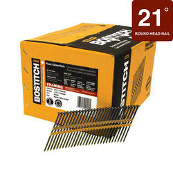 "Bostitch® 3-1/4"" x .131 21° Brite Finish Smooth Shank Full Round Head Framing Nails - 4,000 ct."