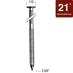 "Bostitch® 2-3/8"" x .113 21° Brite Finish Ring Shank Full Round Head Framing Nails - 5,000 ct."
