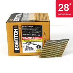 "Bostitch® 3"" x .120 28° HDG Smooth Shank Wire Collated Full-Round Head Framing Nails - 2,000 ct."