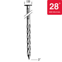 "Bostitch® 3"" x .120 28° HDG Screw Shank Clipped Head Framing Nails - 2,000 ct."