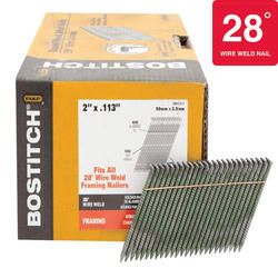 "Bostitch® 2"" x .113 28° Brite Finish Ring Shank Full Round Head Framing Nails - 2,000 ct."