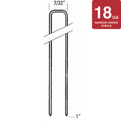"""Bostitch® 7/32"""" Crown x 1"""" Leg 18-Gauge Brite Finish Staples - 5,000 ct."""