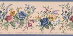 Blue Floral Bouquet Wallpaper Border