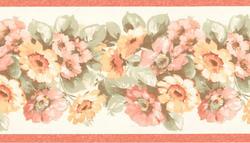 Peach Floral Garden Wallpaper Border