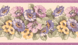 Purple Floral Garden Wallpaper Border