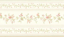 Sage Floral Stripe Wallpaper Border