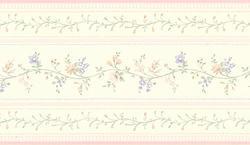 Light Pink Floral Stripe Wallpaper Border