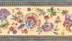 Blue Floral Trail Wallpaper Border