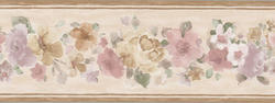 Light Brown Floral Wallpaper Border