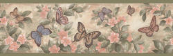 Green Butterfly Floral Wallpaper Border