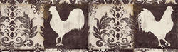 Black Rooster Wallpaper Border