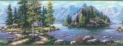 Green Mountain View Wallpaper Border