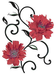 Red Flowers Wall Stickers