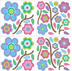 MiniPops Cutsie Blooms Peel and Stick Wall Decals Decal
