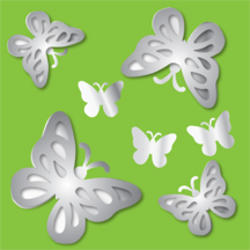 Butterflies 3-Dimensional Peel and Stick Mirror Art Decal