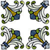 "Brewster Home Fashions Sage Medici Corners Self-Stick Stained-Glass Applique 8.5"" x 9.5"""