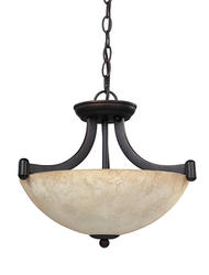 "Patriot Lighting® Warren 3-Light 14.25"" Rubbed Antique Bronze Convertible Pendant or Semi-Flushmount Ceiling Light"