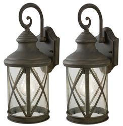 "Patriot Lighting® Sonoma 1-Light 16"" Weathered Finish Twin Pack Outdoor Wall Light"