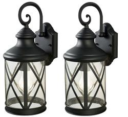 "Patriot Lighting® Sonoma 1-Light 16"" Black Twin Pack Outdoor Wall Light"