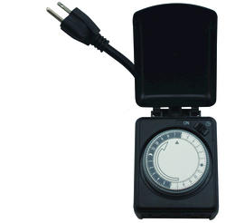 Smart Electrician Black Mechanical Outdoor Plug-In 24 Hour Timer