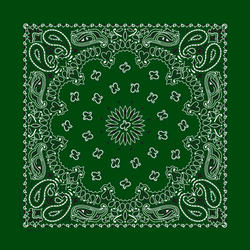 """22"""" x 22"""" Green Paisley Bandanna"""