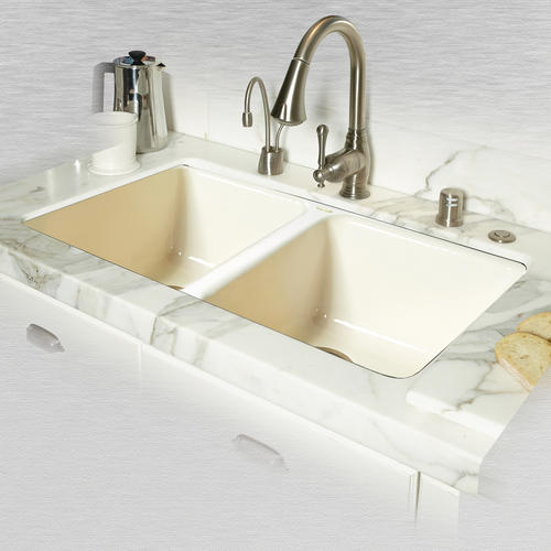 Ceco Doheny 748 33 X 19 1 2 X 8 Cast Iron Double Bowl Undermount Kitchen Sink At Menards