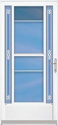 "ChamberDoor Astra 36"" x 80"" Nickel Hardware White Lowkick Storm & Screen Door; Reversible Swing"