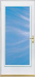"ChamberDoor Emerald Bay 36"" x 80"" Brass Hardware White Woodcore Storm & Screen Door; Reversible Swing"