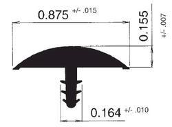 "7/8"" Wide Black PVC T-Moulding, 500 ft. Roll"