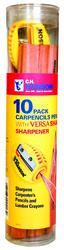 10 Pack Tube of Carpenter Pencils with Sharpener
