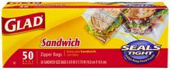 Glad Sandwich Zipper Bags - 50 ct.