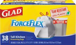 Glad ForceFlex Tall Kitchen Drawstring Bags - 38 ct. / 13 gal.