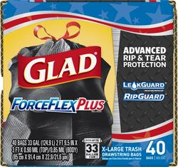 Glad ForceFlex X-Large Trash Drawstring Bags - 40 ct. / 33 gal.