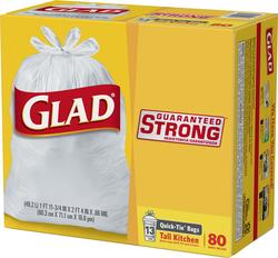 Glad Tall Kitchen Quick-Tie Bags - 80 ct. / 13 gal.