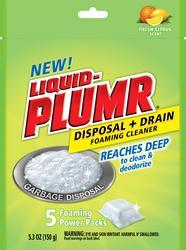 Liquid-Plumr Fresh Citrus Disposal + Drain Foaming Cleaner - 5 ct.