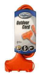 Coleman Cable 14-3, 6', 3 Outlet, Outdoor Tri-Tap Extension Cord
