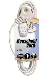 Coleman Cable 16-2, 7', 3 Outlet White Household Cord