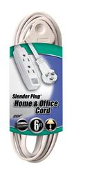 Coleman Cable 16-3, 6', 3 Outlet White Trinector Cord