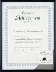"Pinnacle 8-1/2"" x 11"" Black Document Frame"