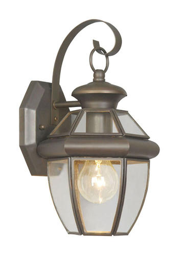 Photon 1-Light 12.5 Bronze Incandescent Outdoor Wall Lantern With Clear Flat Glass at Menards