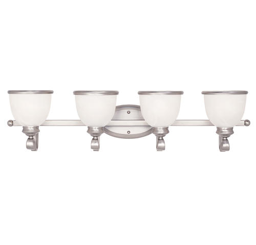 Photon 4-Light 33.5 Nickel Fluorescent Bath Bar With White Marble Glass at Menards