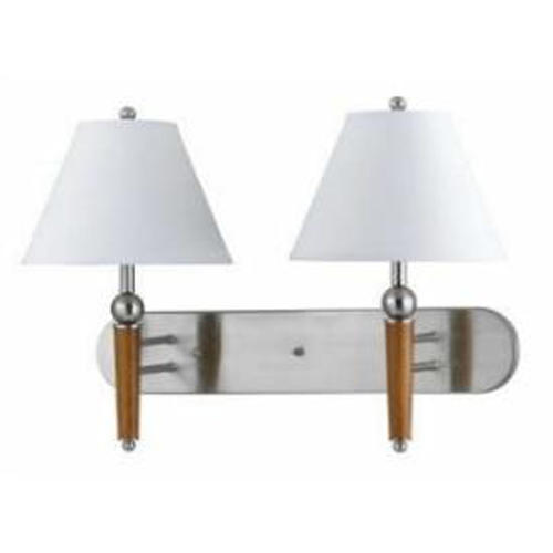 Menards Indoor Wall Sconces : Photon 1-Light 28 Brushed Steel Incandescent Wall Sconce With White Fabric at Menards