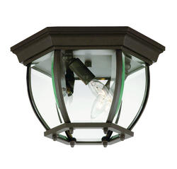 Photon 3-Light 7'' Bronze Incandescent Flush Mount With Clear Beveled Glass