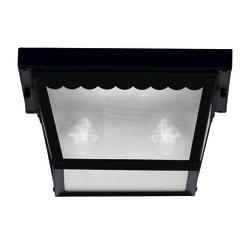 Photon 2-Light 6'' Black Fluorescent Flush Mount With Frosted Glass